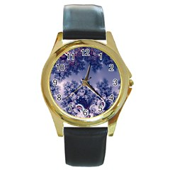 Pink And Blue Morning Frost Fractal Round Leather Watch (gold Rim)  by Artist4God