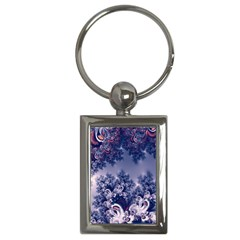 Pink And Blue Morning Frost Fractal Key Chain (rectangle) by Artist4God