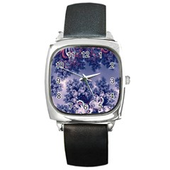 Pink And Blue Morning Frost Fractal Square Leather Watch by Artist4God