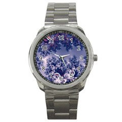 Pink And Blue Morning Frost Fractal Sport Metal Watch by Artist4God