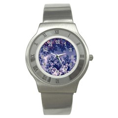 Pink And Blue Morning Frost Fractal Stainless Steel Watch (slim) by Artist4God