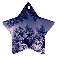 Pink And Blue Morning Frost Fractal Star Ornament (two Sides) by Artist4God