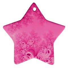 Soft Pink Frost Of Morning Fractal Star Ornament by Artist4God