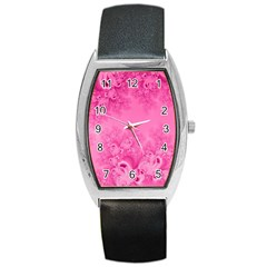 Soft Pink Frost Of Morning Fractal Tonneau Leather Watch by Artist4God