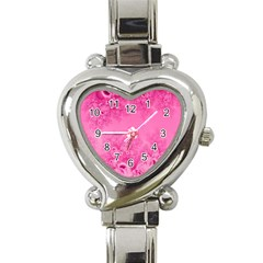 Soft Pink Frost Of Morning Fractal Heart Italian Charm Watch  by Artist4God