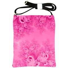 Soft Pink Frost Of Morning Fractal Shoulder Sling Bag by Artist4God