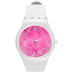Soft Pink Frost Of Morning Fractal Plastic Sport Watch (medium) by Artist4God