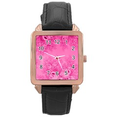 Soft Pink Frost Of Morning Fractal Rose Gold Leather Watch  by Artist4God