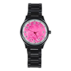 Soft Pink Frost Of Morning Fractal Sport Metal Watch (black) by Artist4God