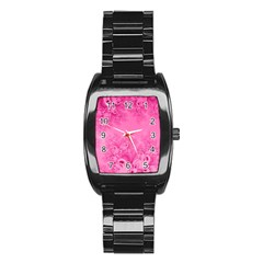 Soft Pink Frost Of Morning Fractal Stainless Steel Barrel Watch by Artist4God