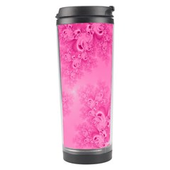 Soft Pink Frost Of Morning Fractal Travel Tumbler by Artist4God