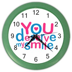You Deserve My Smile Typographic Design Love Quote Wall Clock (color) by dflcprints
