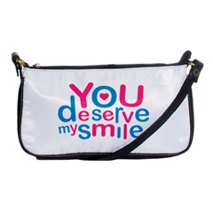 You Deserve My Smile Typographic Design Love Quote Evening Bag by dflcprints