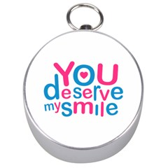 You Deserve My Smile Typographic Design Love Quote Silver Compass by dflcprints