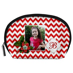 Pouch (l) : Red Chevron By Jennyl   Accessory Pouch (large)   Gzb9m21205ha   Www Artscow Com Front