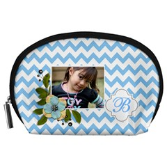 Pouch (l) : Blue Chevron By Jennyl   Accessory Pouch (large)   Rfrpj3wvnf8b   Www Artscow Com Front