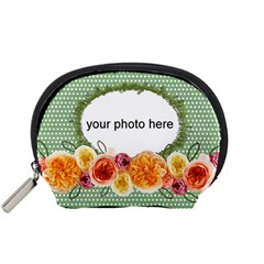 Dots And Flowers Pouch S By Zornitza   Accessory Pouch (small)   Cs7etcdj8u9k   Www Artscow Com Front