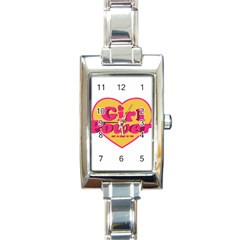 Girl Power Heart Shaped Typographic Design Quote Rectangular Italian Charm Watch by dflcprints