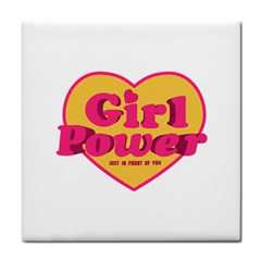 Girl Power Heart Shaped Typographic Design Quote Ceramic Tile by dflcprints