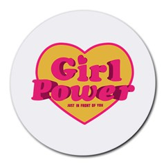 Girl Power Heart Shaped Typographic Design Quote 8  Mouse Pad (round) by dflcprints