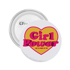 Girl Power Heart Shaped Typographic Design Quote 2 25  Button by dflcprints