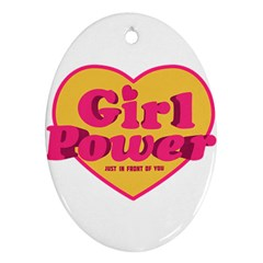 Girl Power Heart Shaped Typographic Design Quote Oval Ornament by dflcprints