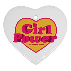 Girl Power Heart Shaped Typographic Design Quote Heart Ornament by dflcprints