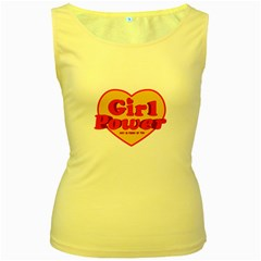 Girl Power Heart Shaped Typographic Design Quote Women s Tank Top (yellow) by dflcprints