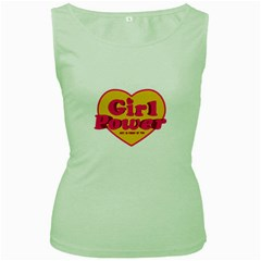 Girl Power Heart Shaped Typographic Design Quote Women s Tank Top (green) by dflcprints
