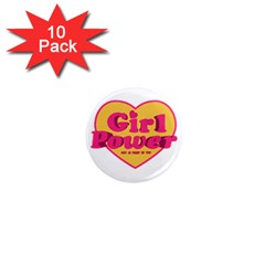 Girl Power Heart Shaped Typographic Design Quote 1  Mini Button Magnet (10 Pack) by dflcprints
