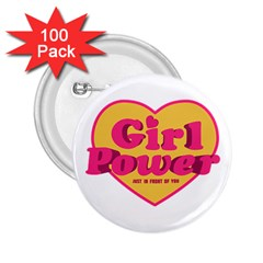 Girl Power Heart Shaped Typographic Design Quote 2 25  Button (100 Pack) by dflcprints