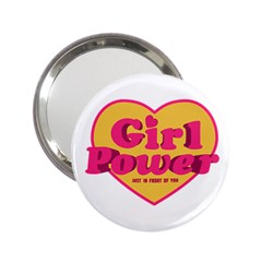 Girl Power Heart Shaped Typographic Design Quote Handbag Mirror (2 25 ) by dflcprints