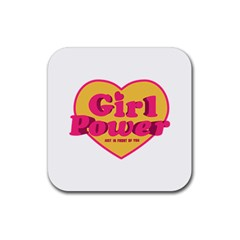 Girl Power Heart Shaped Typographic Design Quote Drink Coaster (square) by dflcprints