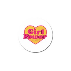 Girl Power Heart Shaped Typographic Design Quote Golf Ball Marker by dflcprints