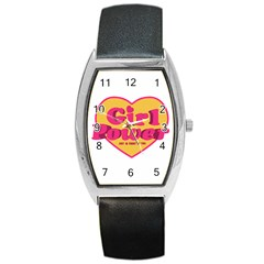 Girl Power Heart Shaped Typographic Design Quote Tonneau Leather Watch by dflcprints