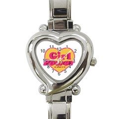 Girl Power Heart Shaped Typographic Design Quote Heart Italian Charm Watch  by dflcprints