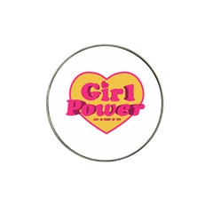 Girl Power Heart Shaped Typographic Design Quote Golf Ball Marker 4 Pack (for Hat Clip) by dflcprints