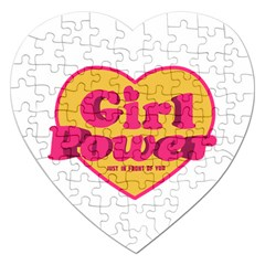 Girl Power Heart Shaped Typographic Design Quote Jigsaw Puzzle (heart) by dflcprints
