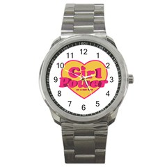 Girl Power Heart Shaped Typographic Design Quote Sport Metal Watch by dflcprints