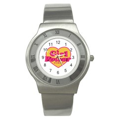 Girl Power Heart Shaped Typographic Design Quote Stainless Steel Watch (slim) by dflcprints