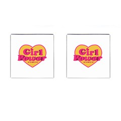 Girl Power Heart Shaped Typographic Design Quote Cufflinks (square) by dflcprints
