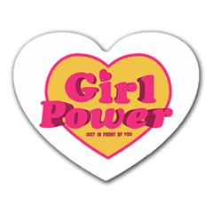 Girl Power Heart Shaped Typographic Design Quote Mouse Pad (heart) by dflcprints