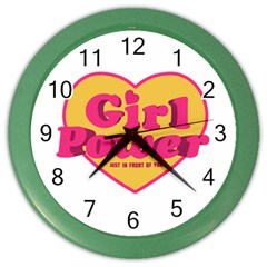 Girl Power Heart Shaped Typographic Design Quote Wall Clock (color) by dflcprints