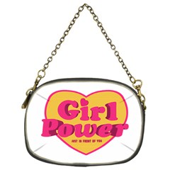 Girl Power Heart Shaped Typographic Design Quote Chain Purse (one Side) by dflcprints
