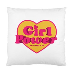 Girl Power Heart Shaped Typographic Design Quote Cushion Case (two Sided)  by dflcprints