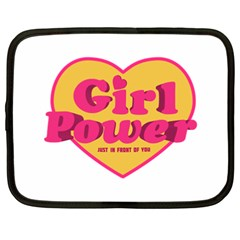 Girl Power Heart Shaped Typographic Design Quote Netbook Sleeve (xxl) by dflcprints