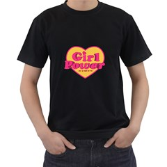 Girl Power Heart Shaped Typographic Design Quote Men s T Shirt (black) by dflcprints
