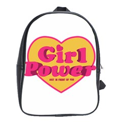 Girl Power Heart Shaped Typographic Design Quote School Bag (large) by dflcprints