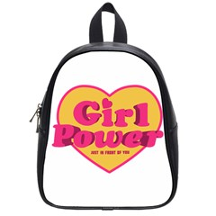 Girl Power Heart Shaped Typographic Design Quote School Bag (small) by dflcprints