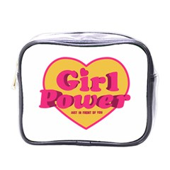 Girl Power Heart Shaped Typographic Design Quote Mini Travel Toiletry Bag (one Side) by dflcprints
